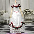 White Short Sleeves Satin Sweet Victorian Dress(FREE SHIPPING)