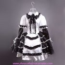Long Sleeve Short Black and White Satin Gothic Lolita Dress(FREE SHIPPING)