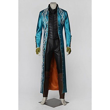 Call Of Duty Vergil Cosplay Suits Solid Blue Long SleeveCloak Breastplate Hakama pants Scarf