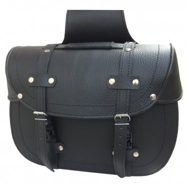 Genuine Black Leather Curiser Motorcycle Luggage Throwover Saddlebags