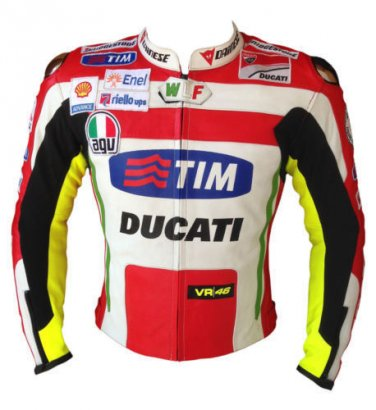 Ducati Mens Motorcycle Leather Jacket, Motorbike Racing Armour with Speed Hump