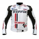 WHITE HONDA REPSOL MOTORBIKE LEATHER JACKET