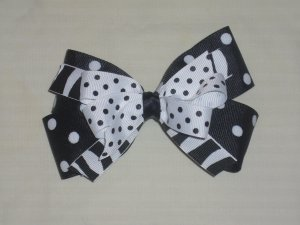 Zebra /Black & White Dot Boutique Bow