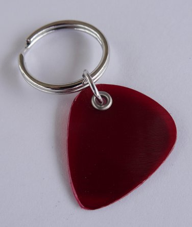 Red Vinyl Record Guitar Pick Keychain