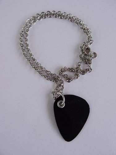 Black Record Guitar Pick Necklace - Med Chain