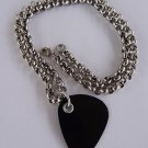 Black Record Guitar Pick Necklace - Thick Chain