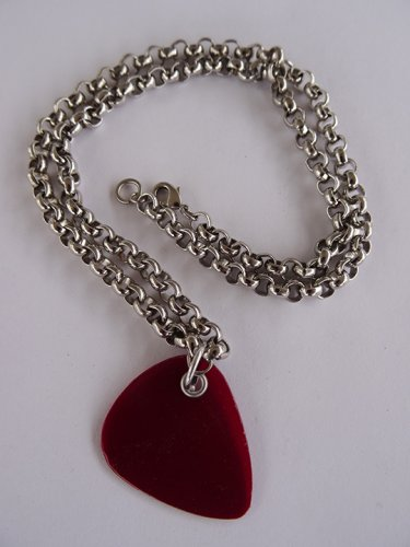 Red Record Guitar Pick Necklace - Thick Chain