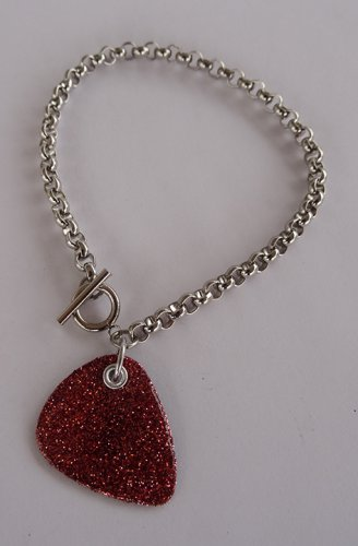 Sparkling Pink Record Guitar Pick Bracelet - Thick Chain