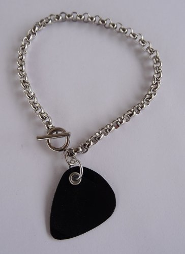 Record Guitar Pick Bracelet - Thick Chain