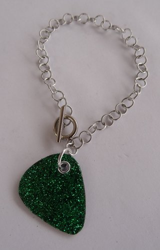 Sparkling Green Record Guitar Pick Bracelet - Large, Small Guage Chain