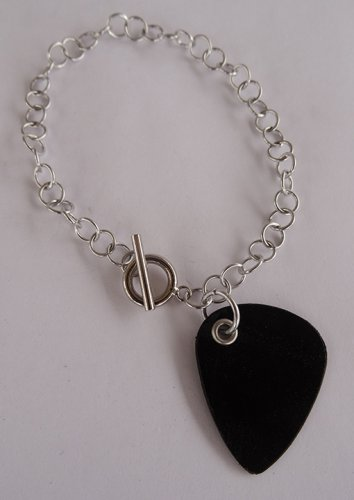 Record Guitar Pick Bracelet - Large, Small Guage Chain