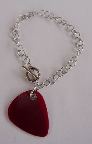 Red Record Guitar Pick Bracelet - Large, Small Guage Chain