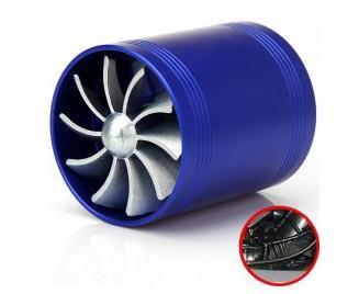 Free shipping F1-Z Universal Air Intake Dual Turbonat or Turbo Fuel Saver Fan - Blue