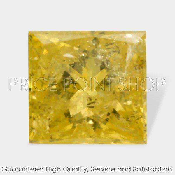 0.28 ctw, 3.58 x 3.42 mm, Canary Yellow Color, I2 Clarity, Princess Cut Diamonds