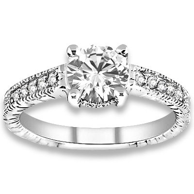 0.33 ctw 14k WG Natural H-I Color, SI Clarity, Accent Diamonds Engagement Rings