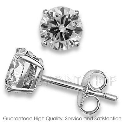 0.50 ctw 4.00 mm Round White CZ 925 Sterling Silver White Rhodium Basket Studs Earrings