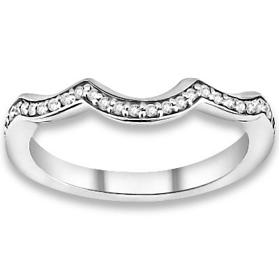 0.16 ctw 14k White Gold I-J Color VS-SI Clarity Natural Round Diamond Wedding Bands