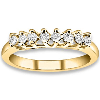 0.24 ctw 14k Yellow Gold H-I Color SI2-SI3 Clarity Natural Round Diamond Wedding Bands