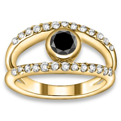 1.52 ctw 14k YG AAA Black, Accent G-H Color, I1 Clarity Diamonds Engagement Rings