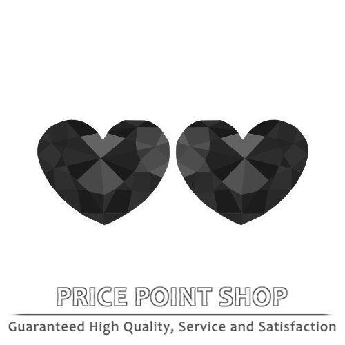 3.33 ctw, 8.47 x 7.79 mm, Black, AAA-AAA Quality, Heart Rose Shape Diamonds Pair
