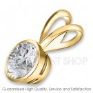 0.50 ctw Yellow Gold Bezel Setting G-H Color I-1 Clarity Certified Solitaire Diamonds Pendants