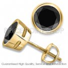 0.25 ctw Bezel Screw Post AAA Quality Round Diamonds Black Certified Studs Earrings