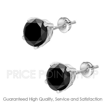 1.25 ctw Wire Screw Back AA Quality Round Brilliant Black Diamonds Certified Studs Earrings