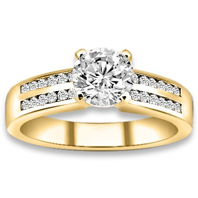 0.74 ctw 14k YG Natural H-I Color, SI Clarity, Accent Diamonds Engagement Rings