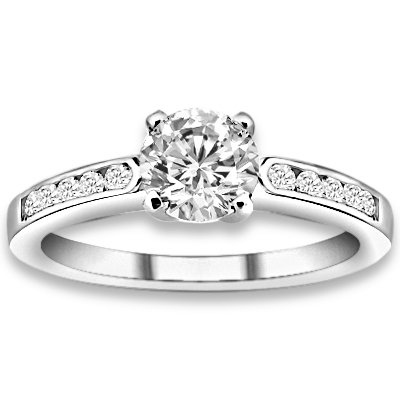 1.20 ctw 14k WG Natural H-I Color, SI Clarity, Accent Diamonds Engagement Rings