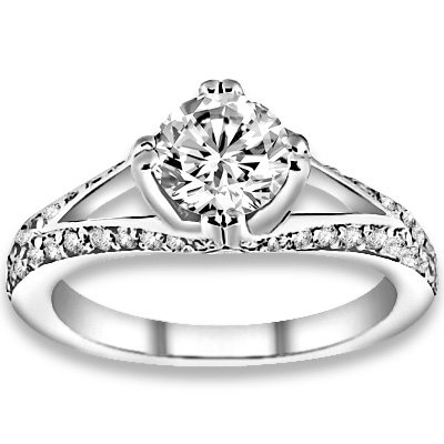 0.80 ctw 14k WG Natural G-H Color, I1 Clarity, Accent Diamonds Engagement Rings