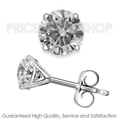 1.50 ctw Martini Push Back H - I Color, SI Clarity Round Brilliant Certified Diamonds Studs Earrings