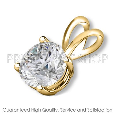 0.50 ctw 14k Solid Yellow Gold Basket H-I Color SI Clarity Certified Solitaire Diamonds Pendants