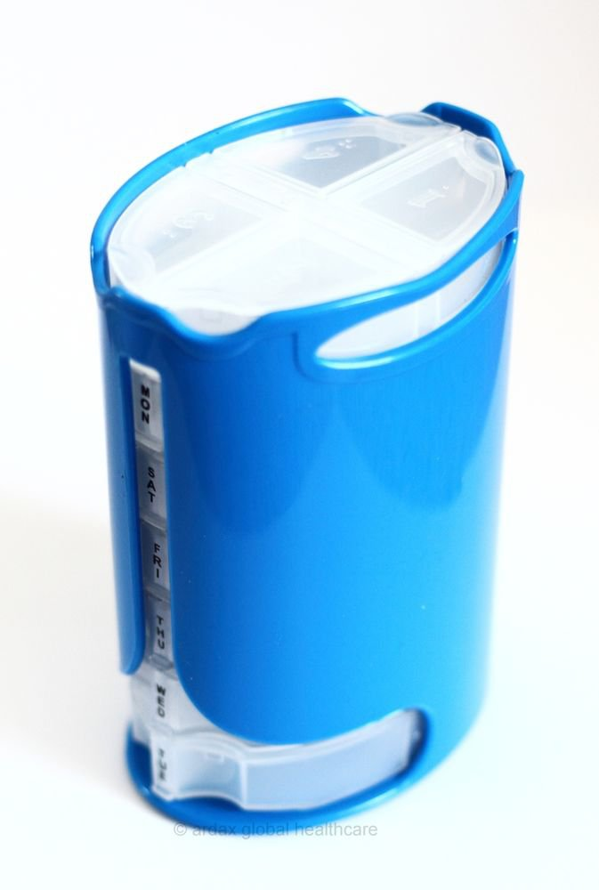PILL TABLET REMINDER ORGANISER TOWER STACKER BOX WEEKLY BLUE/WHITE