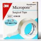 MICROPORE TAPE 1.25CM X 5M  GENUINE 3M BRAND X 1 ROLL