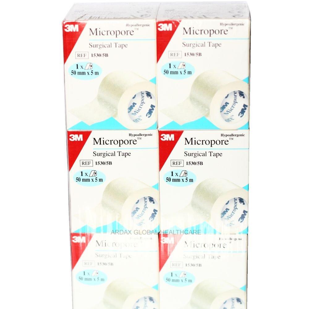 MICROPORE TAPE 5CM X 5M  GENUINE 3M BRAND X 6 ROLLS