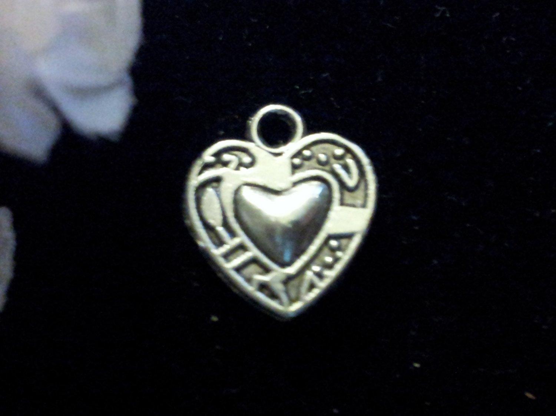 12pcs Tibetan Silver Printed Heart Charm
