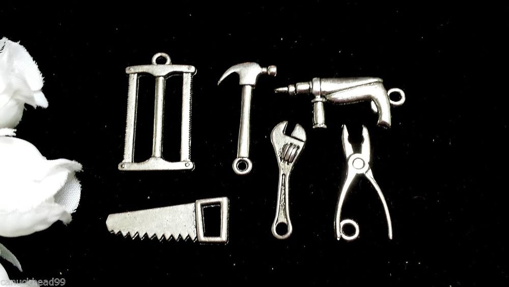 12pcs Tibetan Silver Metal Alloy Charm Charms Pendant Mixed Tools Man Men Shop