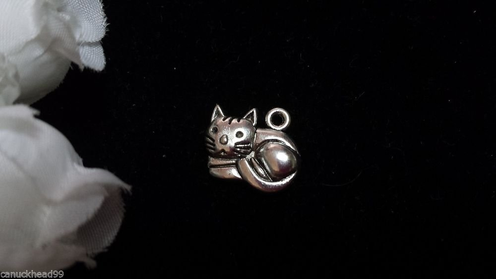 12pcs Tibetan Silver Metal Alloy Charm Charms Pendant Cute Kitty Cat 13x15mm