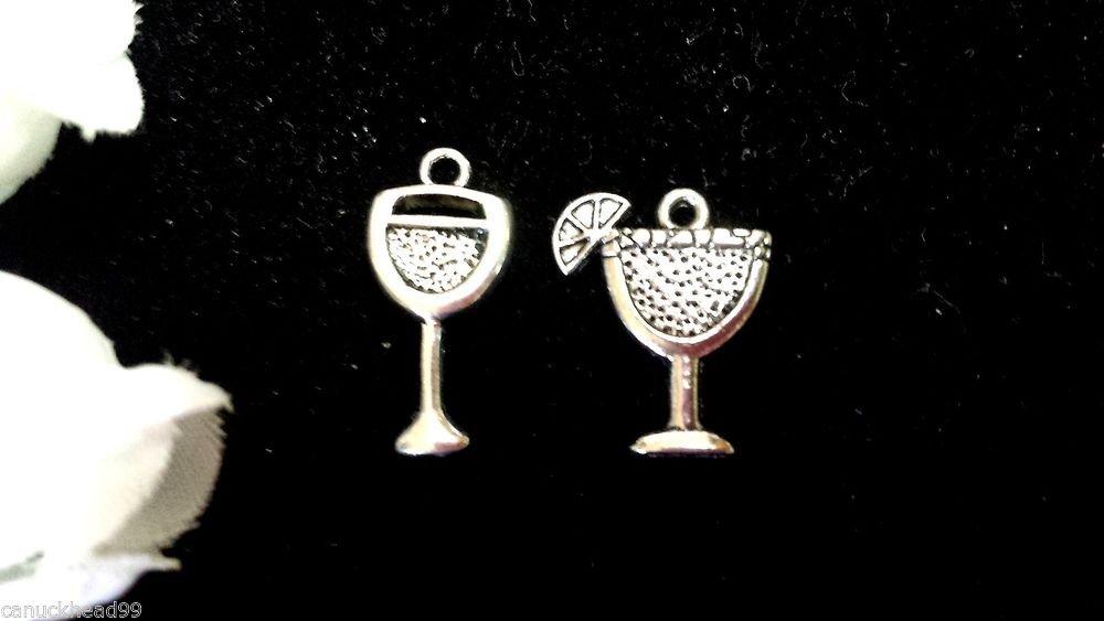 12pcs Tibetan Silver Metal Alloy Charm Charms Pendant Mixed Drink Glasses