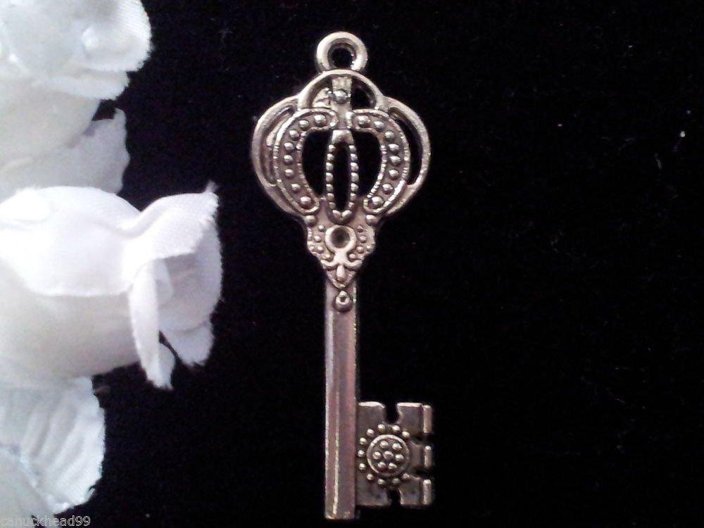 6pcs Tibetan Silver Metal Alloy Charm Charms Pendant Fancy Key 43x17mm