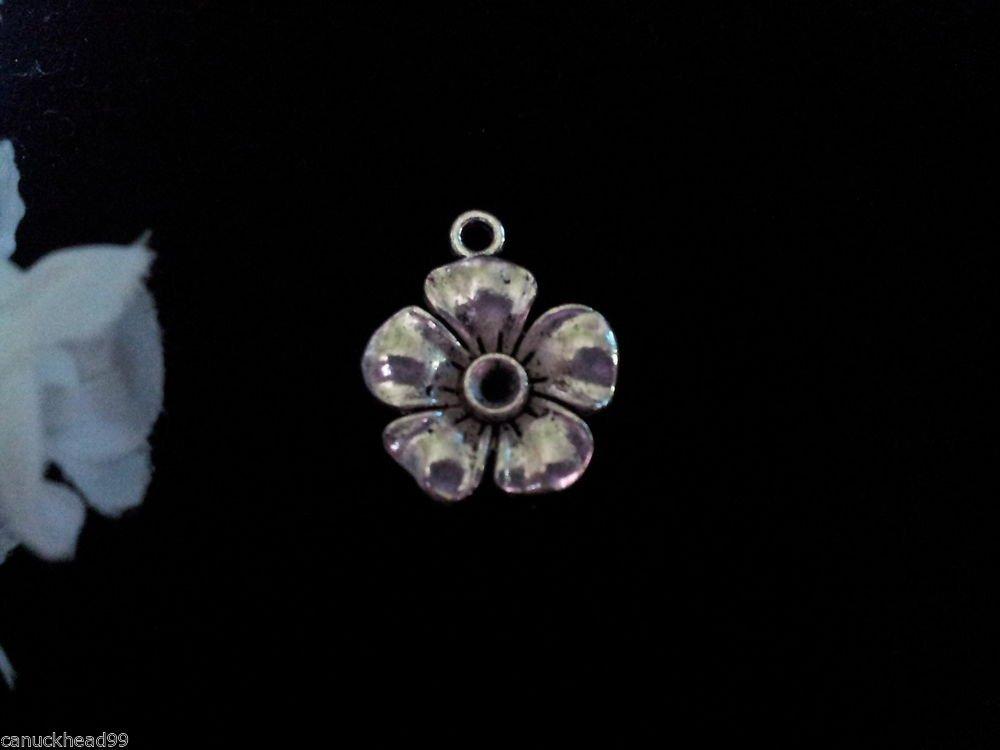8pcs Tibetan Silver Metal Alloy Charm Charms Pendant Flower 1 19x17mm