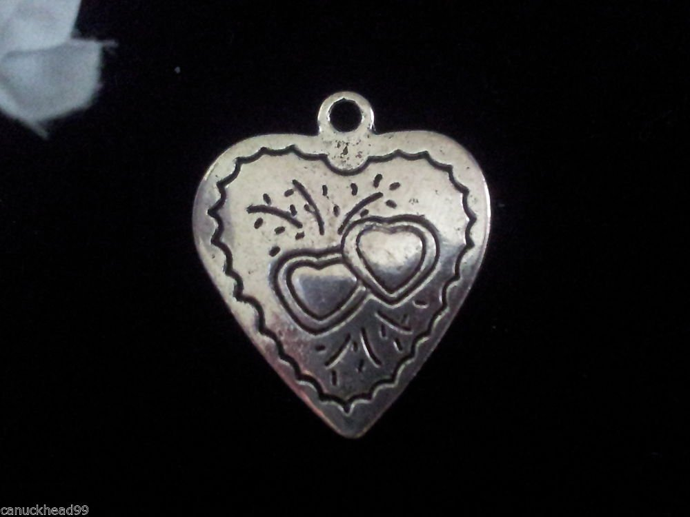 8pcs Tibetan Silver Metal Alloy Charm Charms Double Sided Heart 24x20mm