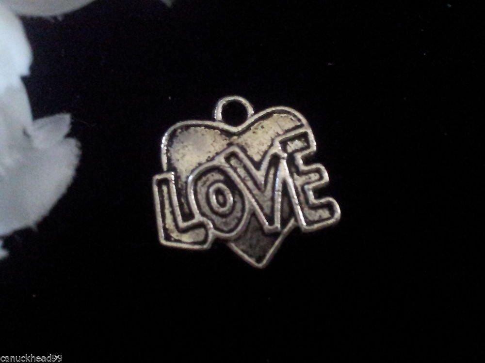12pcs Tibetan Silver Metal Alloy Charm Charms LOVE Heart 18x12mm