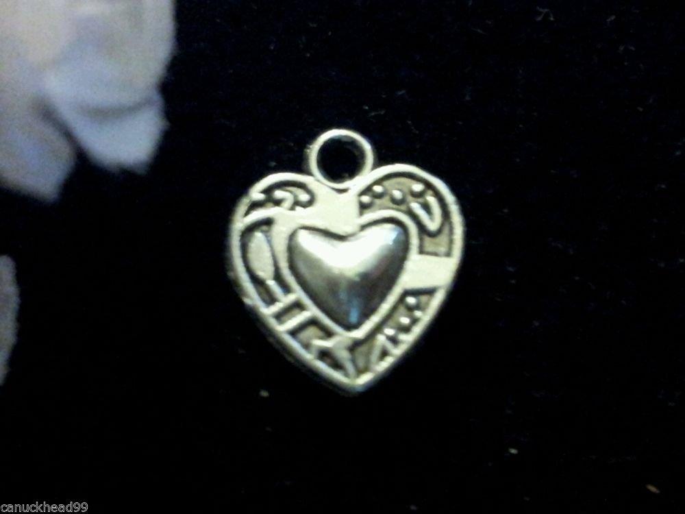 12pcs Tibetan Silver Metal Alloy Charm Charms Printed Heart 15x13mm