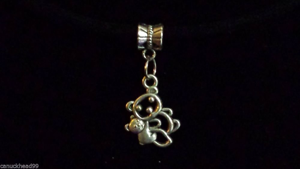 1pc Silver Tone Charm Dangle Spacer Large Hole Bead European Bracelet Bears