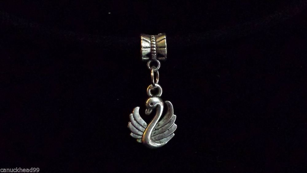 1pc Silver Tone Charm Dangle Spacer Large Hole Bead European Bracelet Swan Bird