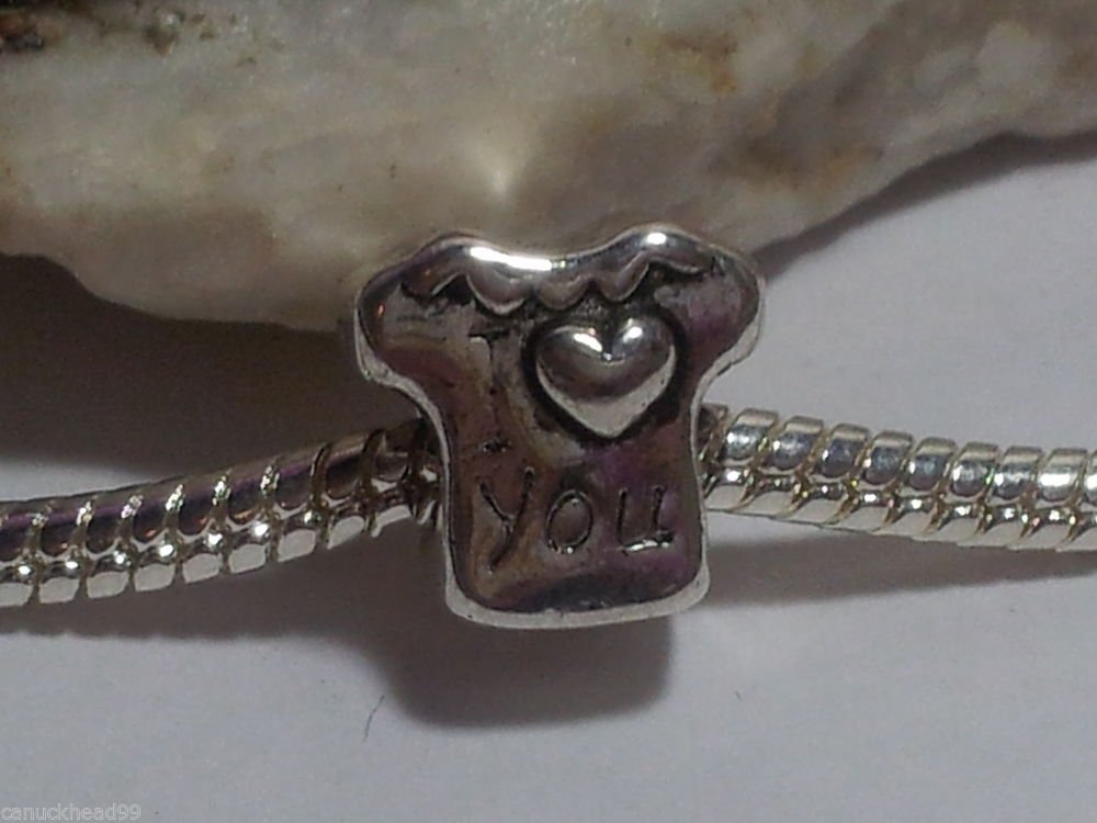 1pc Tibetan Silver T-Shirt I Love You Spacer Large Hole European Bead Charm