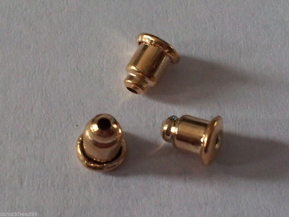 50pcs Gold Plated Earring Backs Nuts Saftey Stoppers Findings Canada Ship