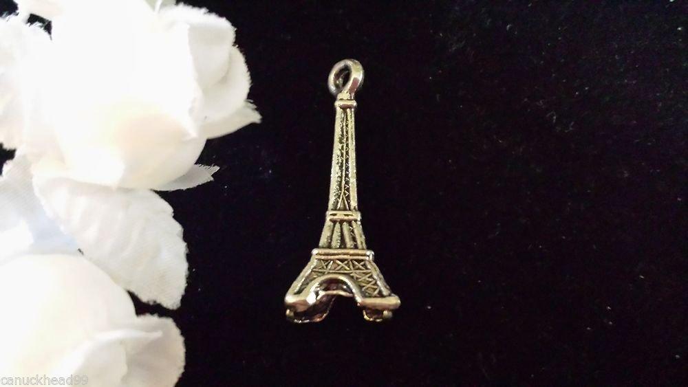 6pcs Tibetan Silver Metal Alloy Charm Charms Pendant Eiffel Tower 3D 31x11mm