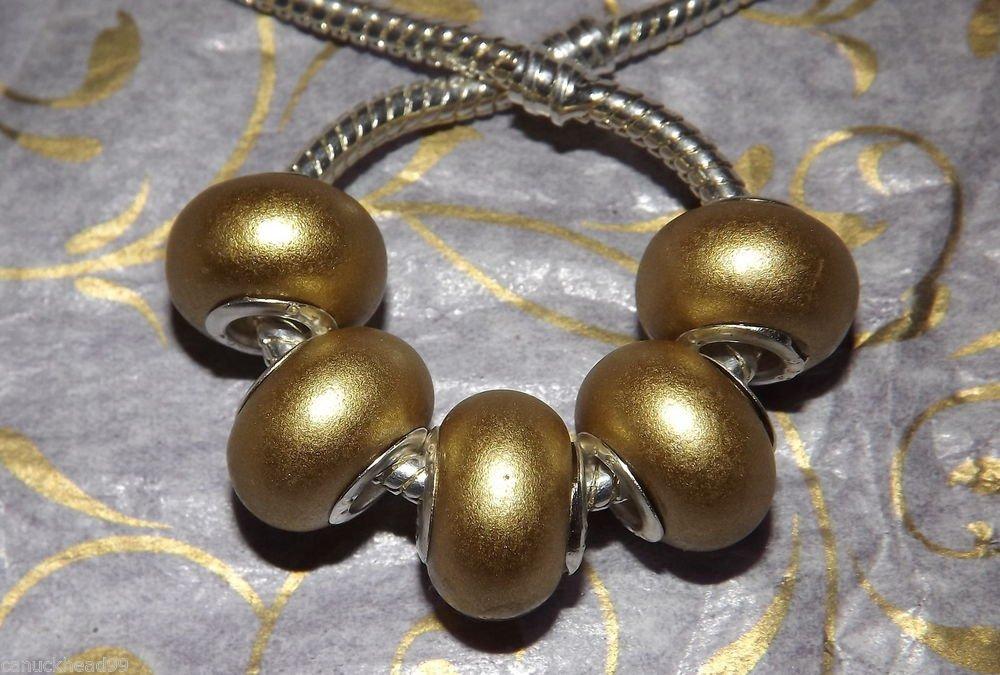 10pcs Acrylic Silver Buckle Core European Charm Beads Bracelet Solid Gold Color